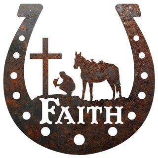 Rustic Metal Horseshoe 'Faith' Cowboy at the Cross Sign