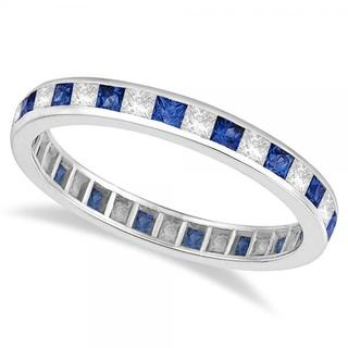 14k Gold 1 1/3ct Princess-cut Blue Sapphire & Diamond Eternity Ring (G-H, SI1-SI2)