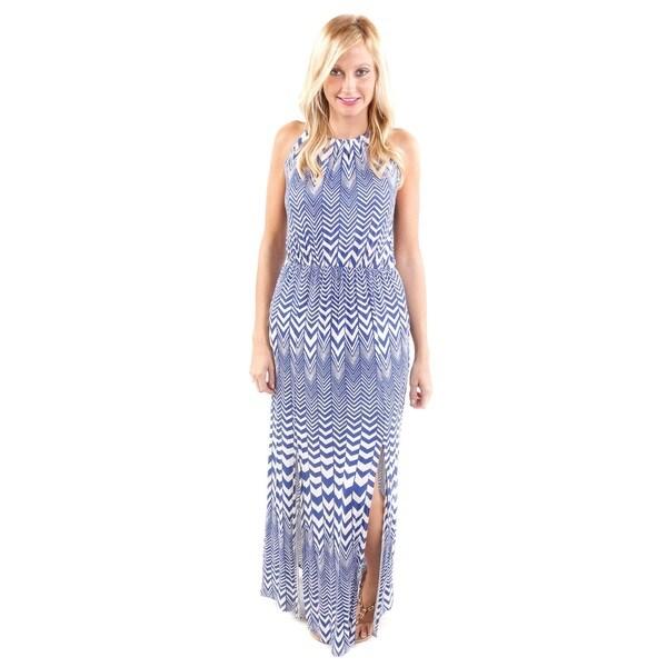 Hadari Women's Chevron Print Spaghetti Strap Maxi Dress (Size Small)