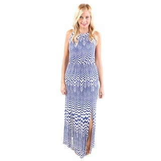 Hadari Women's Chevron Print Spaghetti Strap Maxi Dress (Size Small)