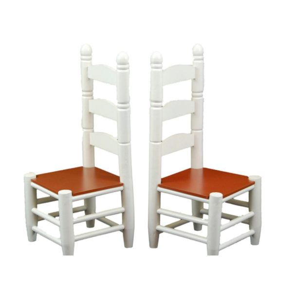 """The Queen's Treasures American Farmhouse Collection Farm Ladder-back Chairs,18"""" Girl Doll Furniture"""