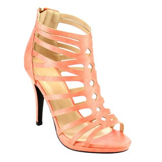 Beston CD20 Women's Stiletto Heel Caged Strap Cut-out Sandals