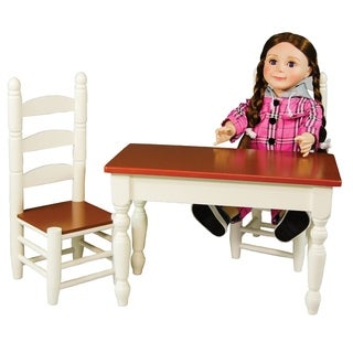 "The Queen's Treasures American Farmhouse Collection Farm Table & Two Chairs,18"" Girl Doll Furniture"
