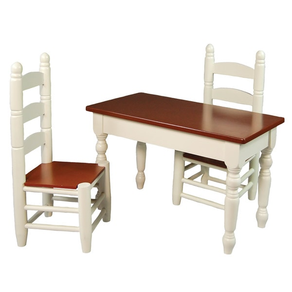 """The Queen's Treasures American Farmhouse Collection Farm Table & Two Chairs,18"""" Girl Doll Furniture"""