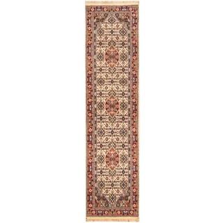 Herat Oriental Indo Hand-knotted Bidjar Ivory/ Red Wool Runner (2'7 x 10'4)