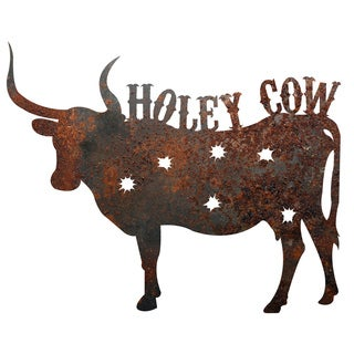 Rustic Metal Cow 'Holey Cow' Sign