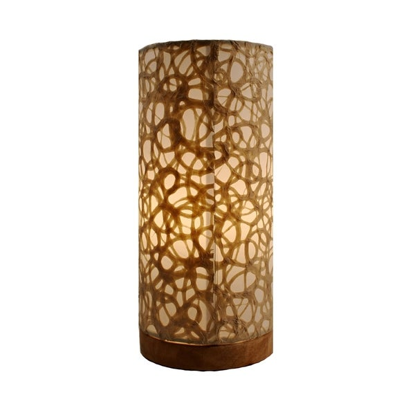 Handmade Paper Cylinder Swirl Table Lamp (Philippines)