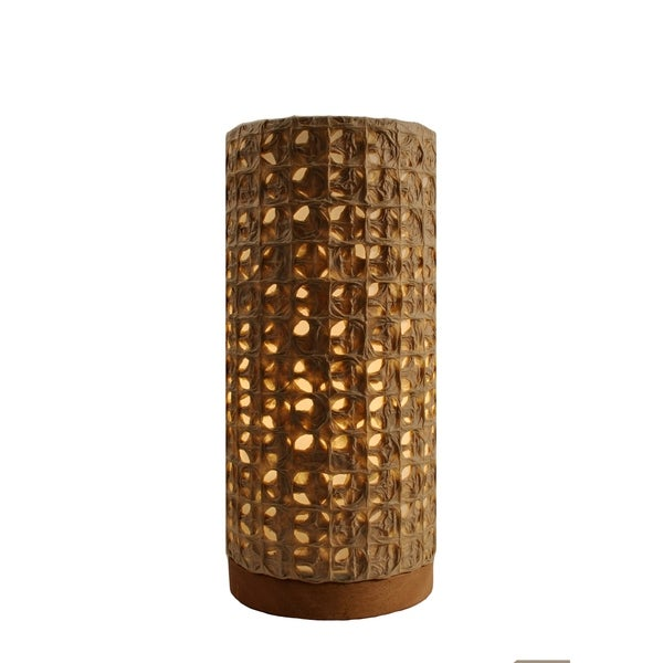 Handmade Paper Cylinder Mesh Table Lamp