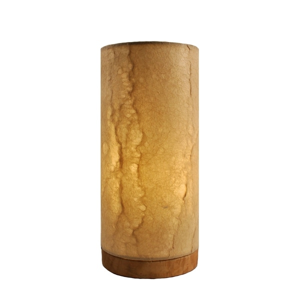 Handmade Paper Cylinder Wave Table Lamp (Philippines)