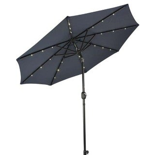 Trademark Innovations Polyester Deluxe Solar Powered LED Lighted Patio  Umbrella