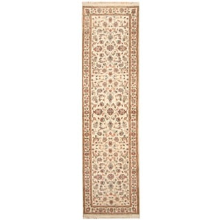 Herat Oriental Indo Hand-knotted Kashan Ivory/ Green Wool Runner (2'9 x 9'9)
