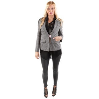 3 Piece Set: Hadari Women's Hadari Women's Sheer Black Tank, Long Sleeve One Botton Blazer and Black Pants