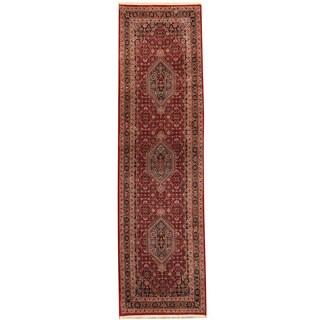 Herat Oriental Indo Hand-knotted Bidjar Red/ Navy Wool Runner (2'11 x 10'4)