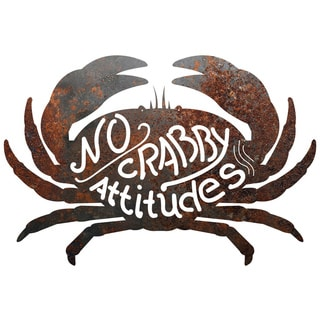Rustic Metal Crab 'No Crabby Attitudes' Sign