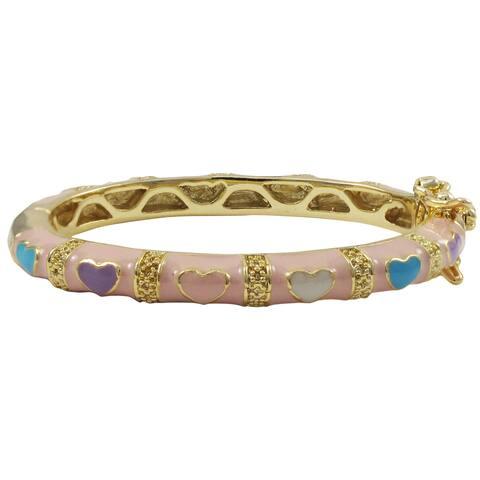 Luxiro Gold Finish Light Pink and Multi-color Enamel Heart Children's Bangle Bracelet