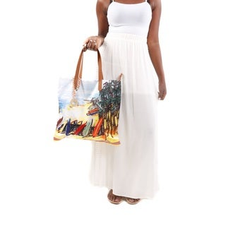 2 Piece Set: Hadari Women's Laced Maxi Skirt and Beach-Print Fabric Purse