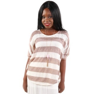 Hadari Women's Beige Thin Striped Poncho Top