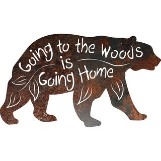 Rustic Metal Black Bear 'Going to the Woods is Going Home' Sign
