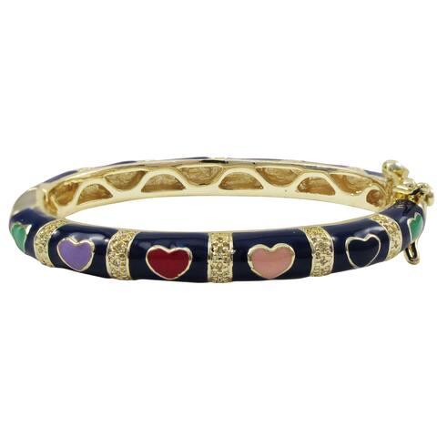 Luxiro Gold Finish Navy Blue and Multi-color Enamel Heart Children's Bangle Bracelet