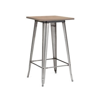 Amalfi Gunmetal Light Elm Wood Top Bar Table 42 Inch