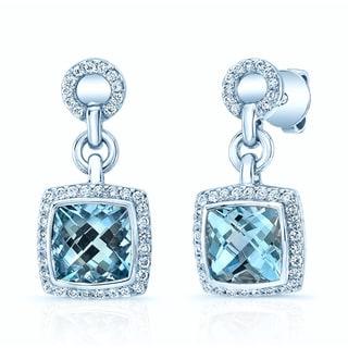 14k White Gold 2/5ct TDW Diamond and Aquamarine Drop Earrings (H-I, VS1-VS2)