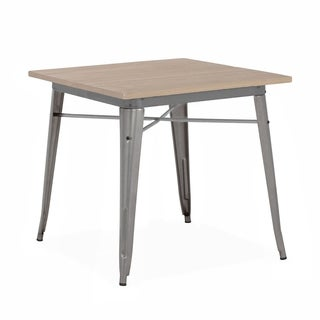 Amalfi Gunmetal Light Wood Top Steel Dining Table 30 Inch - Grey/Tan/Silver