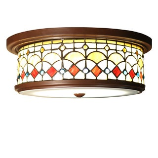 Nissha 3-light Round 14.5-inch Tiffany-style Ceiling Lamp