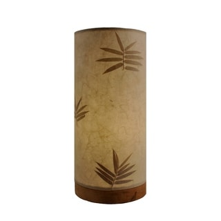 Handmade Paper Cylinder w/ Leaves Table Lamp (Philippines)