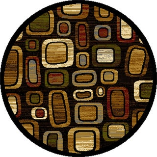 """Home Dynamix Royalty Collection Black-Multi (7'10"""") Round Machine Made Polypropylene Area Rug"""
