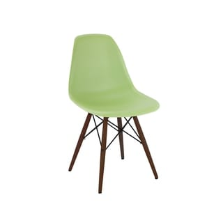 Mid Century Lorem Green Side Chair with Walnut Base (Set of 5)