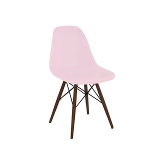 Trige Baby Pink Mid Century Side Chair Walnut Base (Set of 5)