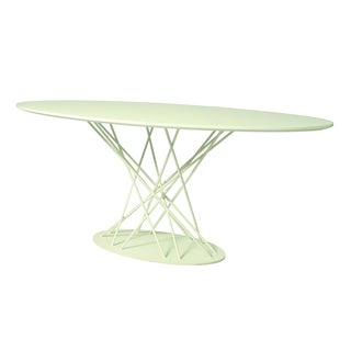 Janette White Graphite Oval Dining Table