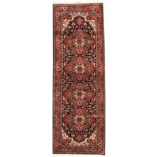 Herat Oriental Indo Hand-knotted Tabriz Navy/ Red Wool Runner (4'2 x 11'4)