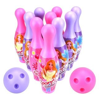 Velocity Toys Princess Sport Children's Big 12 Piece Toy Bowling Set with 10 Pins 2 Bowling Balls