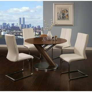 Indiana Stainless Steel and Walnut Veneer Round Dining Table