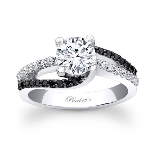 Barkev's Designer 14k White Gold 1 2/5ct TDW Black and White Diamond Engagement Ring