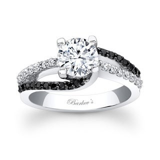 Barkev's Designer 14k White Gold 1 2/5ct TDW Black and White Diamond Engagement Ring