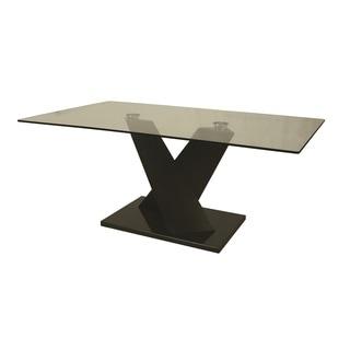 Hudson Valley Black Veneer and Glass Rectangular Dining Table