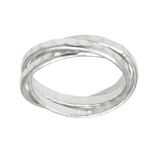 Handmade Interconnected Trinity Hammered Band HillTribe Silver Ring (Thailand)