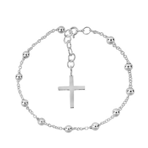 Handmade Dangle Cross of Faith Bead Link .925 Sterling Silver Rosary Bracelet (Thailand)