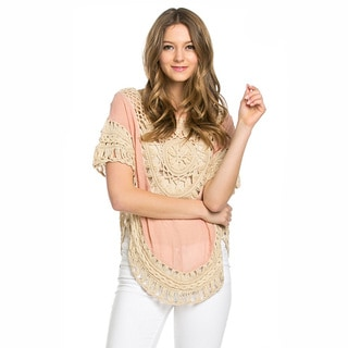Kate Marie Women's 3/4 Sleeve Laced Crochet Poncho