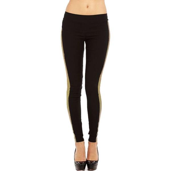 JR Fashion Women's Plus Size Black and Gold Legging