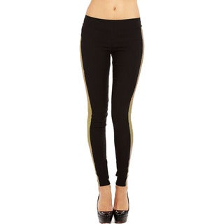 JR Fashion Women's Plus Size Black and Gold Legging