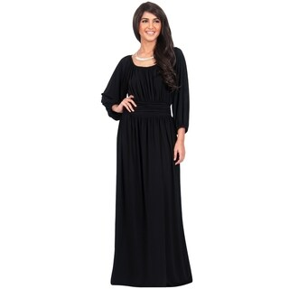 KOH KOH Womens Long Sleeve Round Neck Empire Waistline Full Maxi Dress