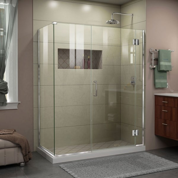 "DreamLine Unidoor-X 46 1/2 in. W x 34 3/8 in. D x 72 in. H Frameless Hinged Shower Enclosure - 34.38"" x 46.5"""