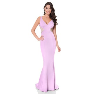 Terani Couture Women's Fitted Purple Neoprene Trumpet Prom Gown
