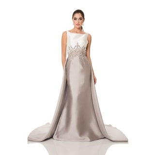 High Quality Tan/ White Two Tone Embellished Evening Gown Gallery