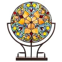 Gracewood Hollow Greki 21.75-inch Tiffany-Style Stained Glass Webbed Hearts Panel Lamp