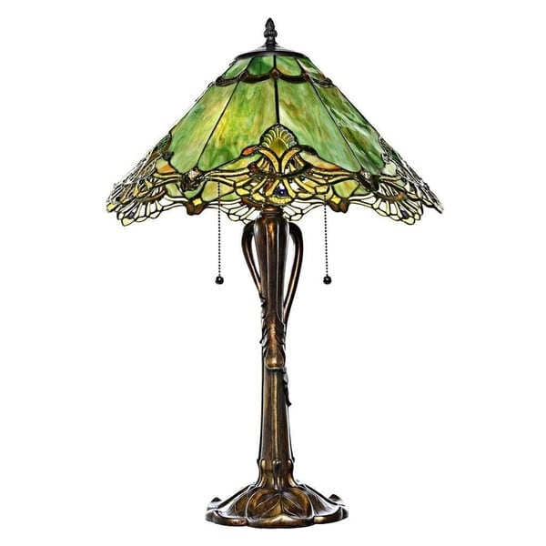 Tiffany Style Stained Glass Sea Green Crystal Lace 25 Inch Table Lamp