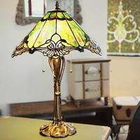 25 Inch Tiffany Style Stained Glass Sea Green Crystal Lace Table Lamp